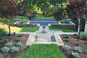 Stone pathway leading to driveway