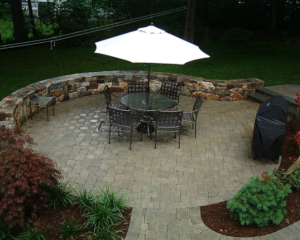 Table and chairs on tone patio