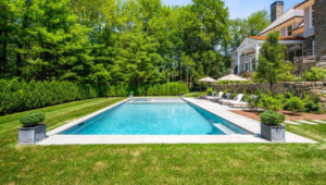 A backyard pool designed and installed by Ambrosio Landscape Solutions