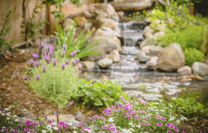 A waterfall feature in a backyard by Ambrosio Landscape Solutions