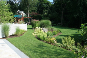 Backyard with great landscaping