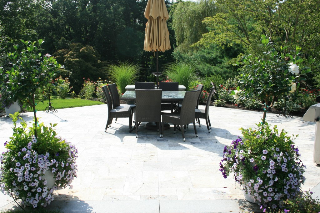 Outdoor table and chairs on stone patio