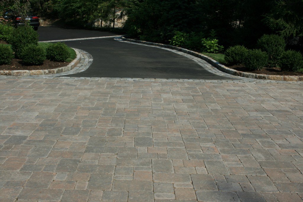 Stone apron at end of driveway