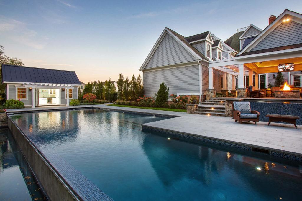 Pool next to pool house