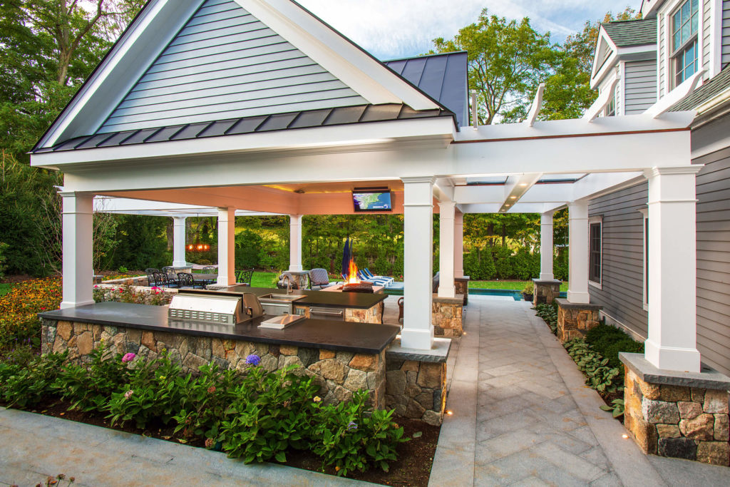 Gazebo with outdoor kitchen and seating