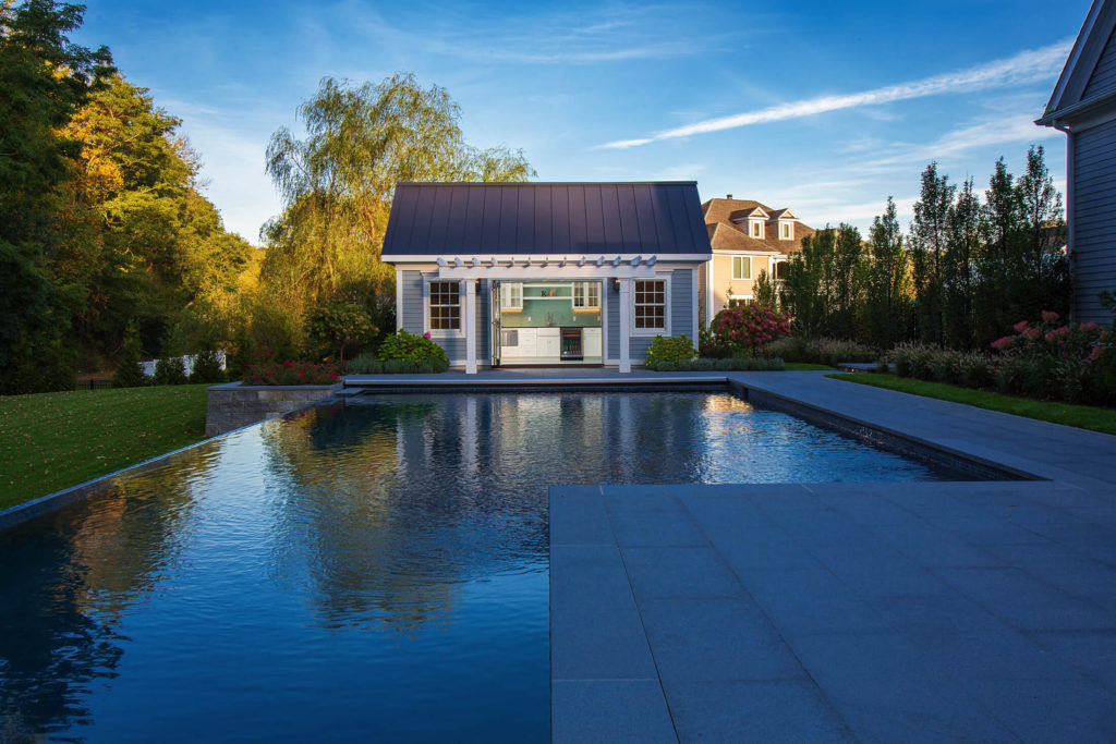 Pool with pool house