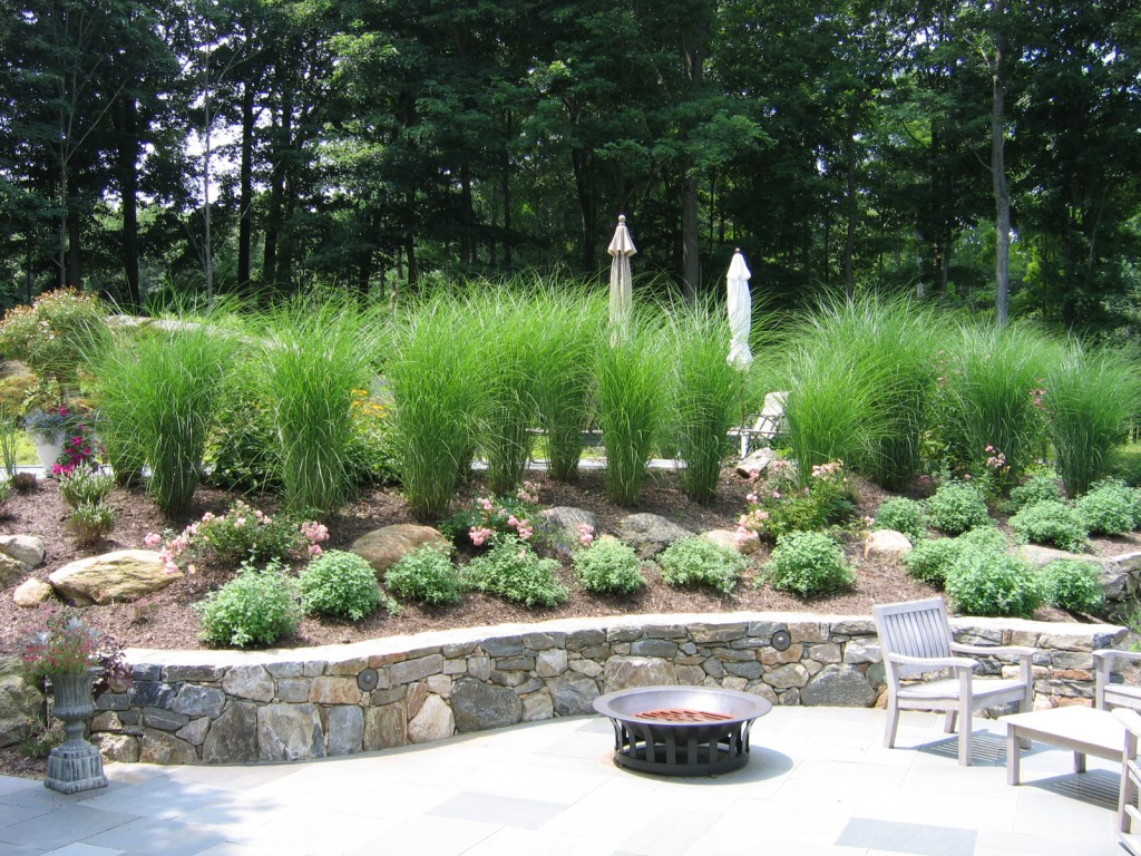 Beach grass and stone retaining wall