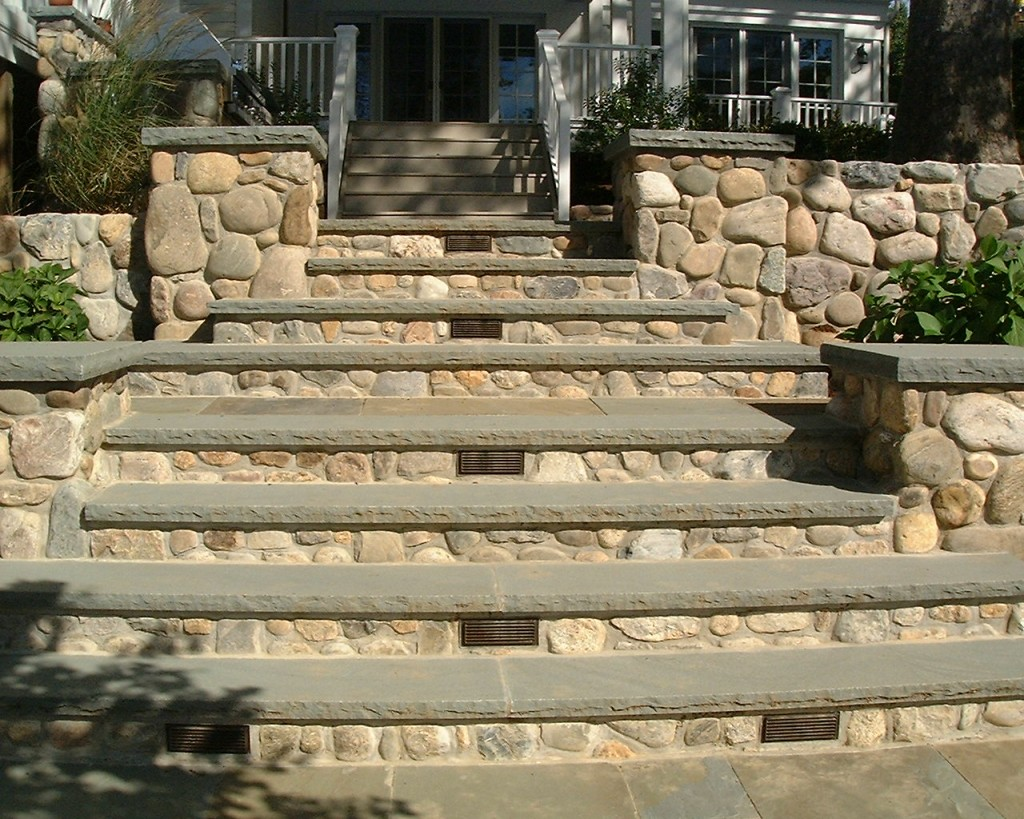 Stone steps with lights