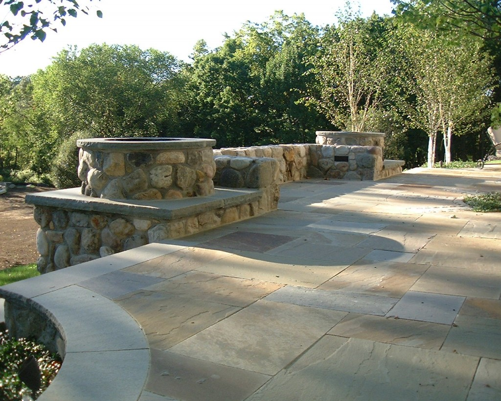 Stone fire pit and patio