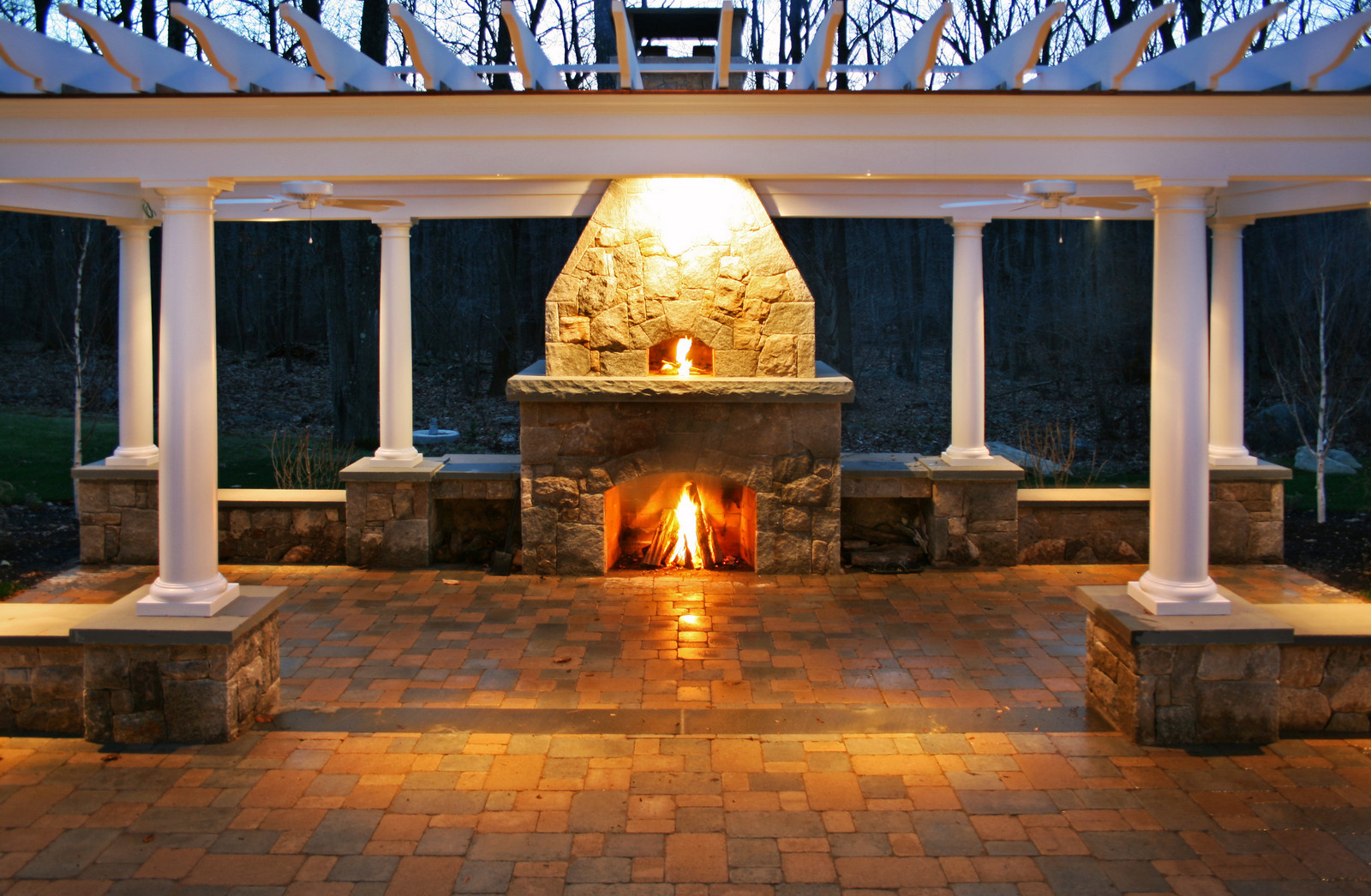Fireplace lit at night