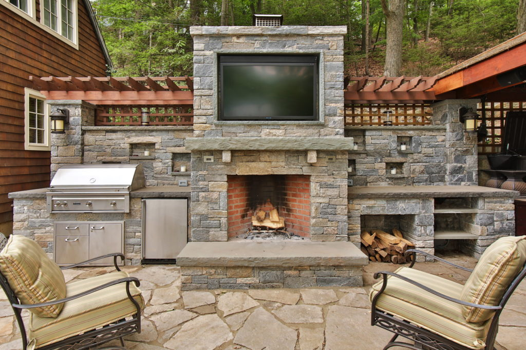 Outdoor fireplace and TV