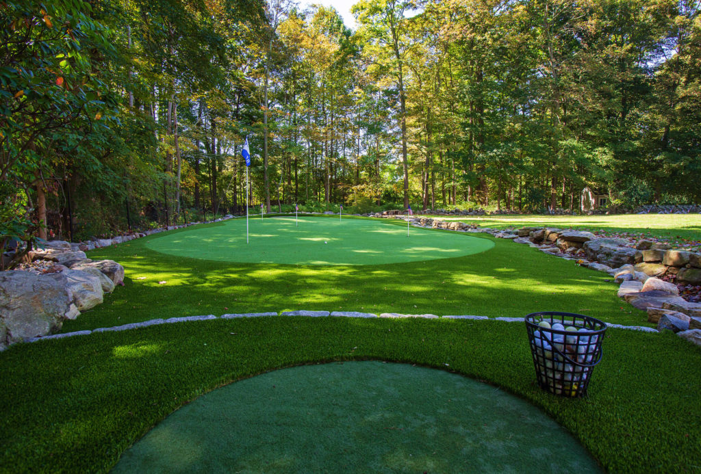 Backyard golf course and putting green