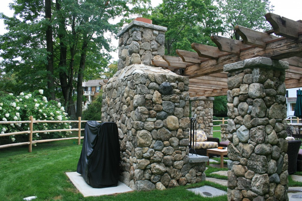 Back of outdoor fireplace