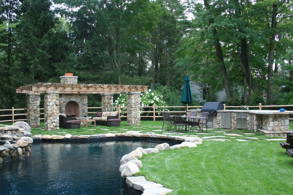Pool and outdoor fire place