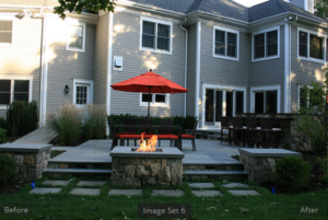 Backyard with fire pit and chairs
