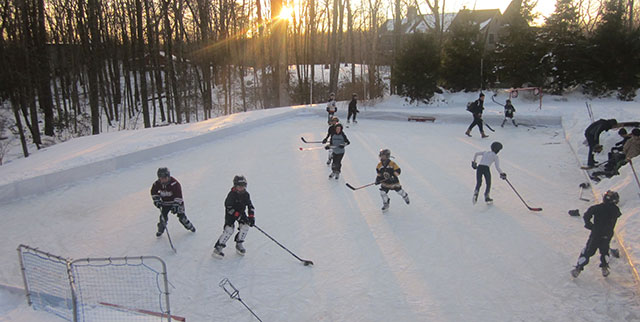 Landscape Design New Canaan   Home Outdoor Ice Rink