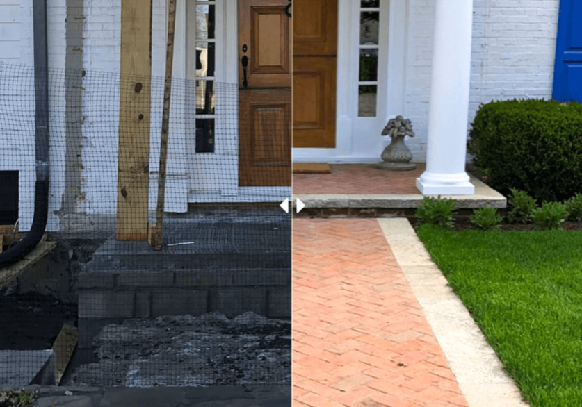 Before and after landscaping by front door