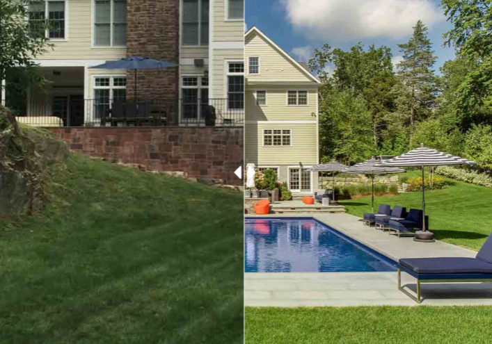 Before and after of patio and pool