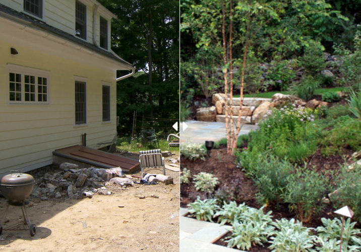 Before and after of flower beds