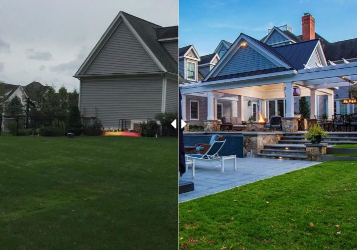 Before and after of backyard landscaping