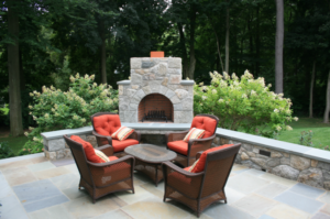 the fireplace and firepit can be the center of your patio
