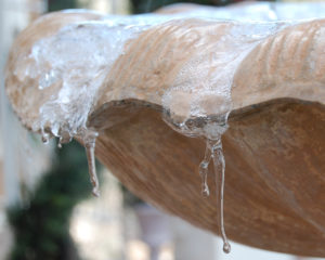 frozen water on fountain