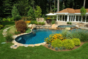 Outdoor backyard swimming pool