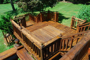 Wood deck with stairs