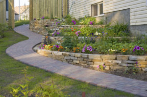 Flower beds leading up hill