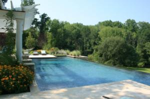 Infinity pool in backyard