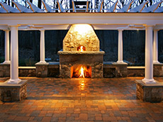 Pizza, Fireplace & Trellis | Landscape Design New Canaan CT | Westport CT