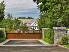Custom stonework and driveway gate